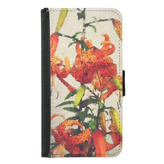 Orange Watercolor Tiger Lily 1 Samsung Galaxy S5 Wallet Case