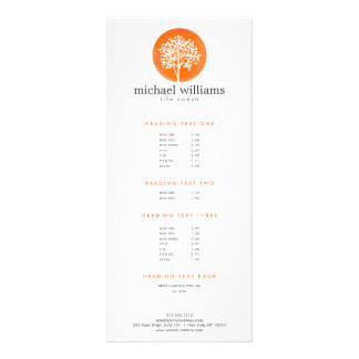 Orange Watercolor Tree Life Coach, Counselors Rack Card