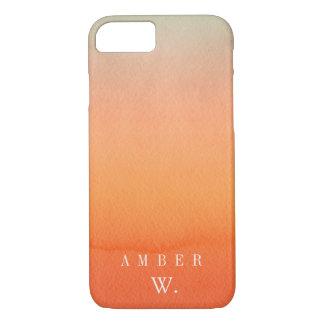 Orange Watercolor Wash Personalized iPhone 7 Case