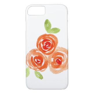 Orange watercolour roses iphone case