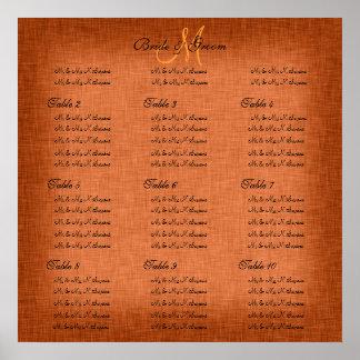 Orange wedding seating charts print