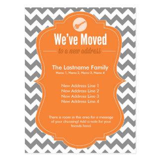 Orange We've Moved Change of Address Postcards