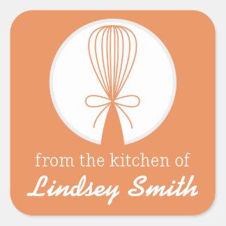 Orange Whisk Silhouette Kitchen Labels