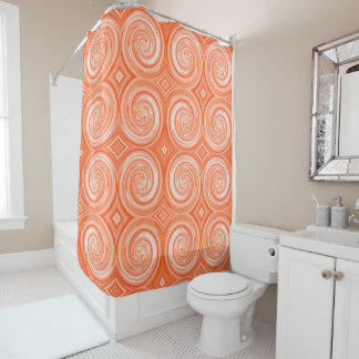 Orange White Abstract Swirl Pattern