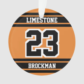 Orange, White and Black Jersey Sport Number Ornament