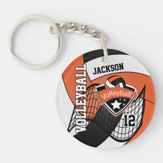 Orange, White and Black Personalize Volleyball Keychain