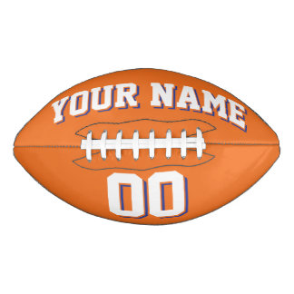 ORANGE WHITE AND BLUE Custom Football