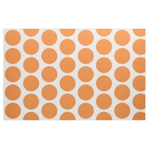 Orange White Big Polka Dots Fabric