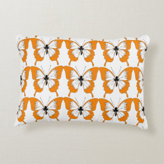 Orange & white butterfly pillow