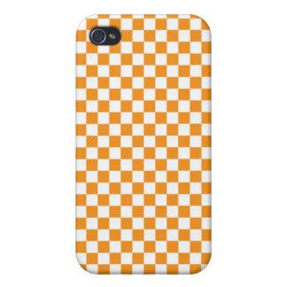 Orange & White Checkerboard iPhone 4 Case
