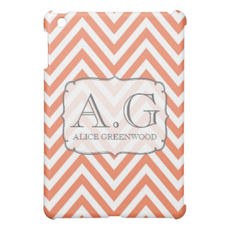 Orange & White Chevron Monogram IPAD Mini Cover