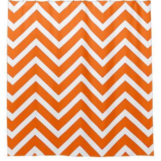 Orange white  chevron Pattern cool Shower Curtain