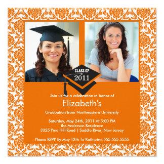 Orange White Damask Photo Graduation Invitation