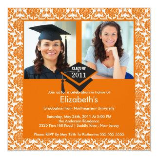 Orange & White Damask Photo Graduation Invitation