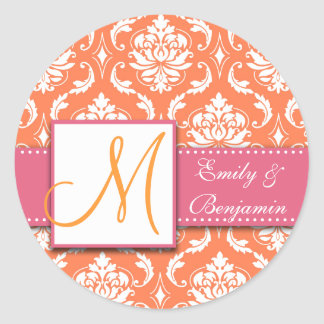 Orange White Damask Wedding Favour Sticker Pink