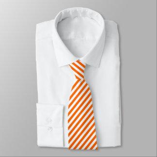 Orange White Diagonal Stripes Pattern Cool Modern Tie