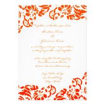 Orange & White Floral Wedding Invitation