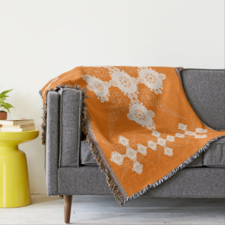 Orange White Geometic Celtic Throw Blanket
