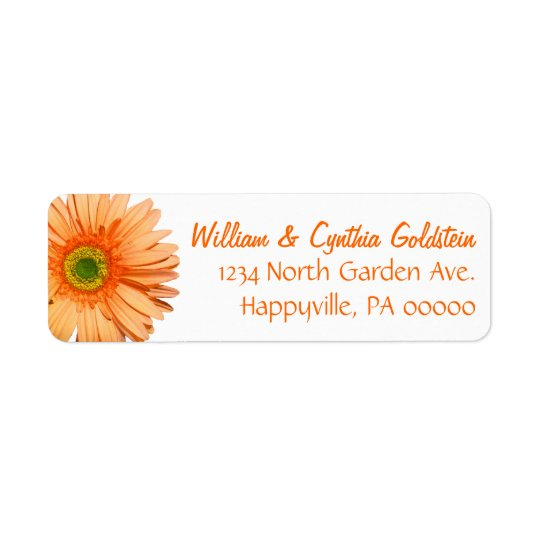 Orange & White Gerbera Daisy Custom Address Label