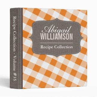 Orange & White Gingham Southern Recipe Binder