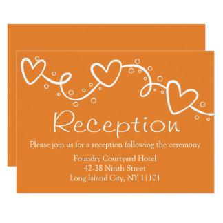 Orange & White Hearts Love Wedding - Country Fall Card