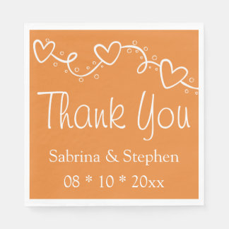 Orange & White Hearts Wedding Party, Bridal Shower Disposable Napkins
