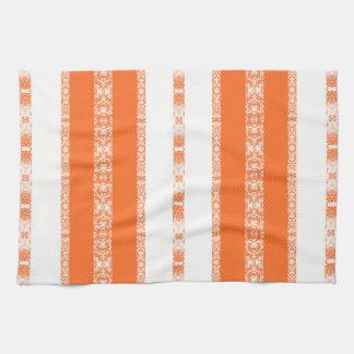 orange white kitchen towel