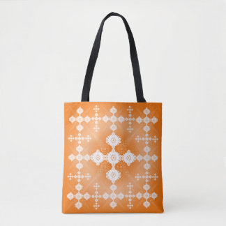 Orange White Lace Celtic Tote Bag