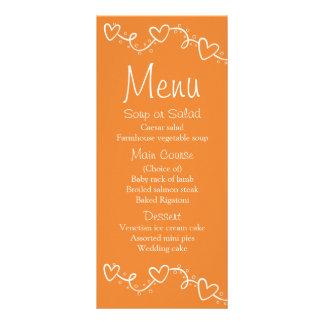 Orange & White Menun Hearts Love Wedding -  Fall Rack Card