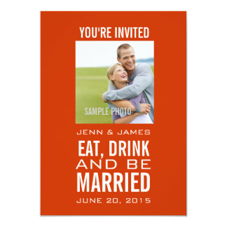 Orange White Modern Photo Wedding Invitations