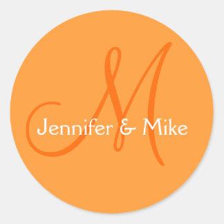 Orange White Names Monogram Wedding Favor Stickers