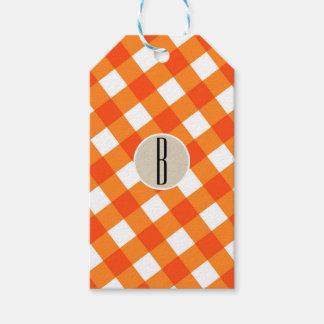 Orange White Plaid Kraft Rustic Monogram Initial Gift Tags