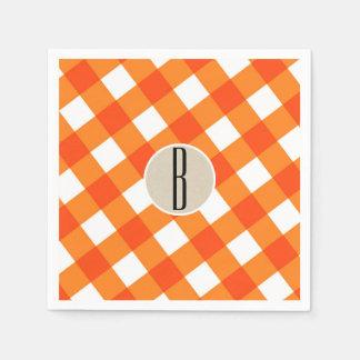 Orange White Plaid Kraft Rustic Monogram Initial Paper Napkins