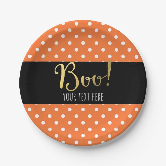 Orange & White Polka Dot Halloween Party 7 Inch Paper Plate