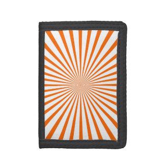 Orange & White Radiant Stripes Trifold Wallets