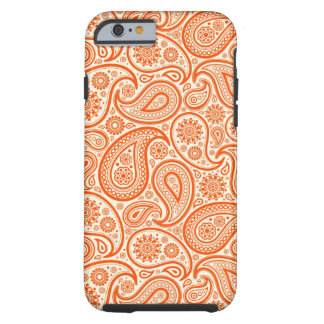 Orange & White Retro Paisley Pattern Tough iPhone 6 Case