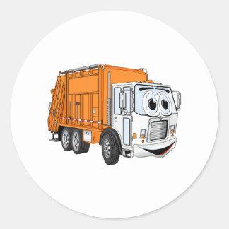 Orange White Smiling Garbage Truck Cartoon Classic Round Sticker