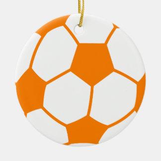 Orange & White Soccer Ceramic Ornament