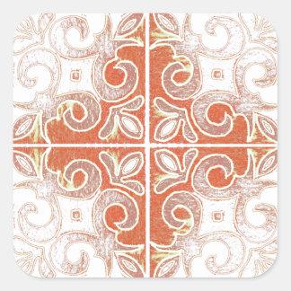 Orange White Swirl Inspired by Portuguese Azulejos Square Sticker
