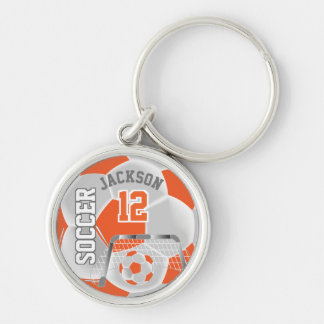 Orange & White Team Soccer Ball Keychain