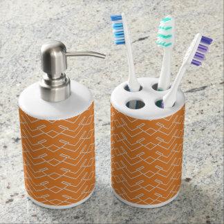 Orange White Toothbrush Holder Soap Dispenser Set