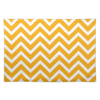 orange white zig zag pattern design placemat