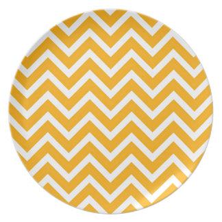orange white zig zag pattern design plate