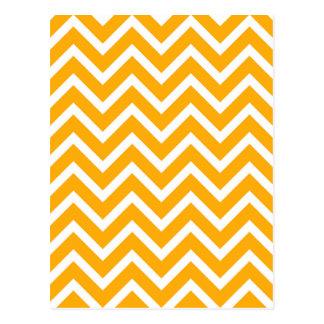 orange white zig zag pattern design postcard