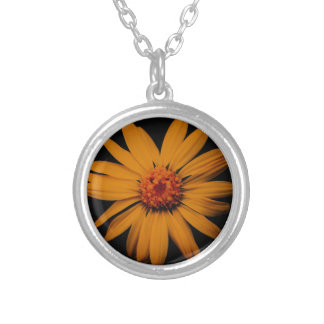 Orange Wildflower Silver Plated Necklace
