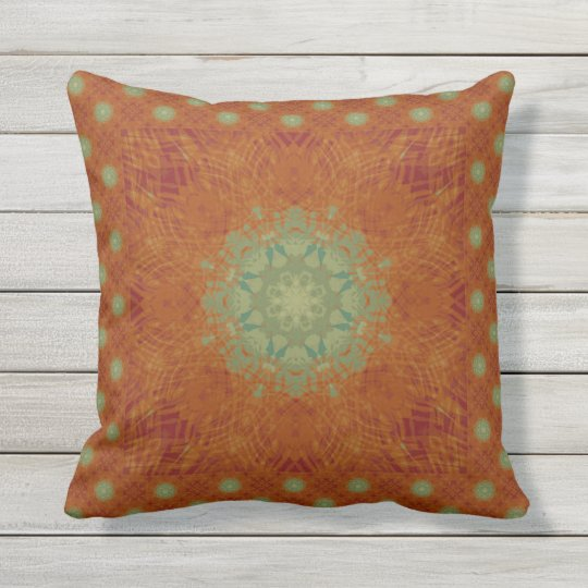 Orange Wine Sage Green Wavy Mandala Tile Outdoor Pillow