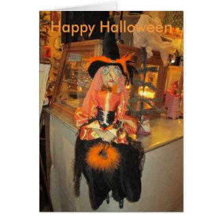 Orange Witch Halloween Card