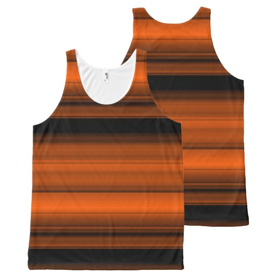 Orange with black shades / stripes All-Over-Print tank top