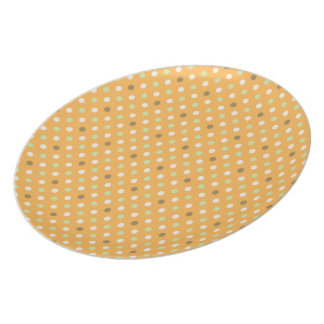 Orange With Green Dots Pattern Party Plates