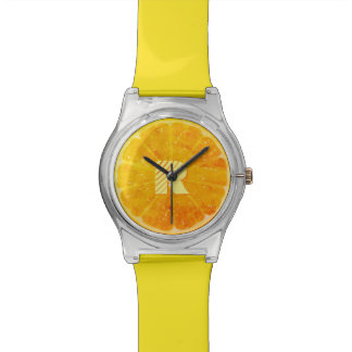 Orange with (or without) your Initial(s) Wrist Watches